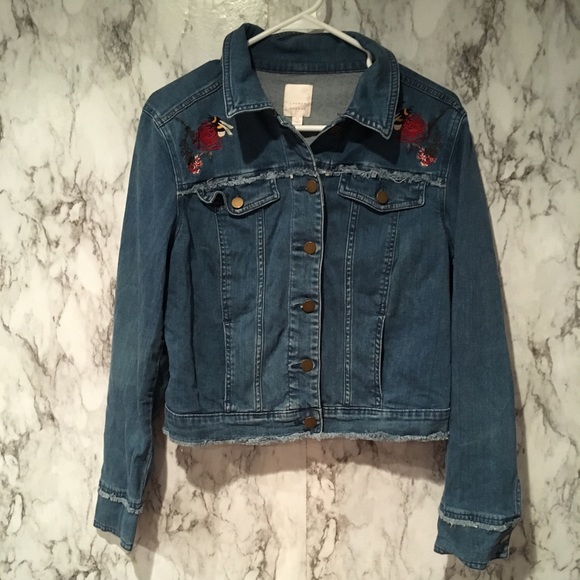 Lc Lauren Conrad Jackets Coats Rose Embroidered Denim Jacket